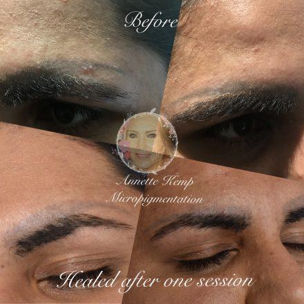 Salt saline removal for semi permanent makeup